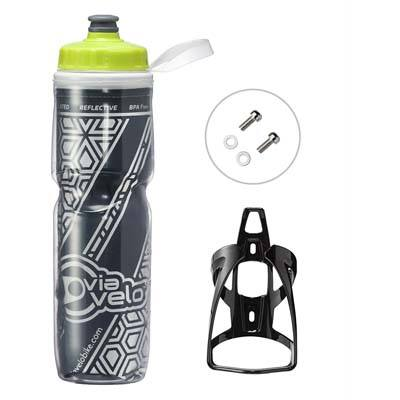 7. Via Velo Bicycle Insulated Water Bottle & Cage – 26oz
